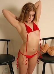 Teen takes off her bikini in front of you